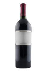 Red wine bottle with blank label, isolated