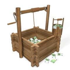 Euro Money in water well