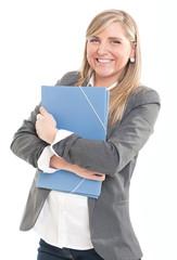 Amused blonde with folder