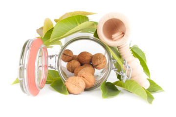 walnuts and nut crusher