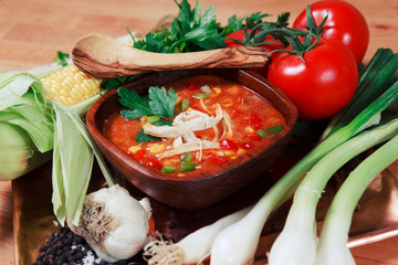 Chicken Tortilla Soup With Fresh Vegetables