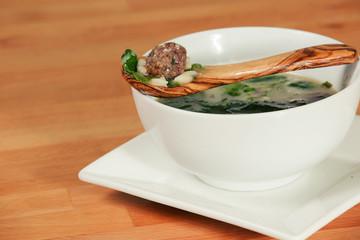 Bowl of Italian Wedding Meatball Soup