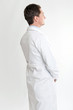 Profile of a man on lab coat