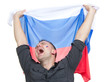 Happy russian soccer fan with russian national flag shouting