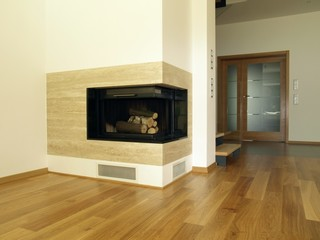 Fireplace in modern house interior