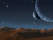 Alien world with two moons.