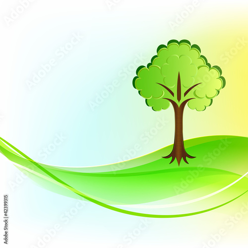 Green tree wavy vector background.