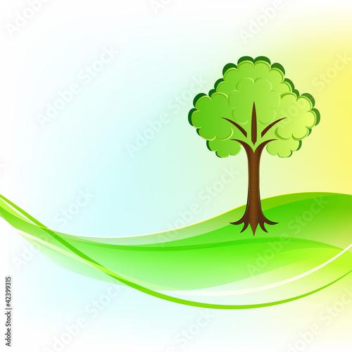 Green tree wavy vector background.