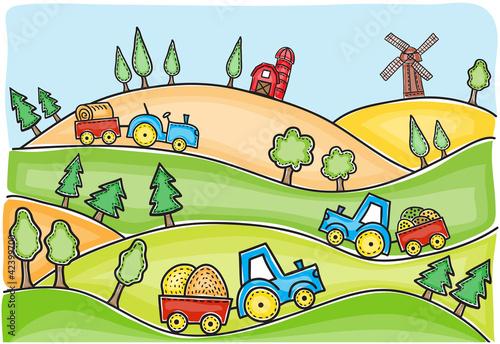 Foto op Canvas Boerderij Illustration of harvest time