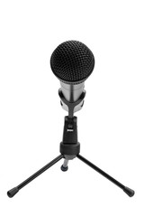 Microphone on stand isolated on white