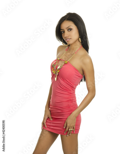 Beautiful slim exotic woman in dress