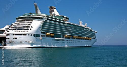 Large cruise ship at anchor