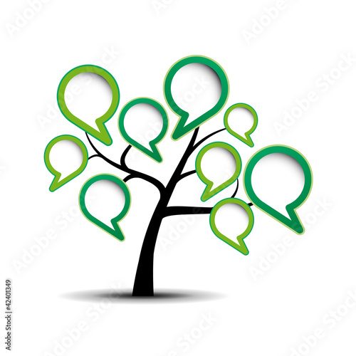 Abstract green tree with messages # Vector