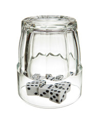 Dice in overturned glass