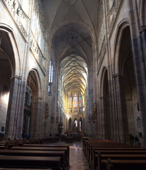 Interior of Saint Vitus Cathedral  in Prague