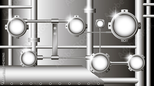 industrial illustration with metallic pipes and round devices -