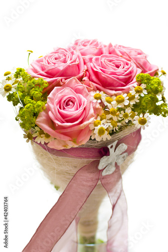 Brautstrauss Rosen Rosa -your text-