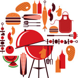 set of bbq objects, vector illustration