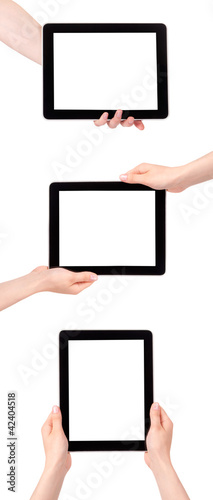 Touch screen tablet computer with blank screen Isolated on white
