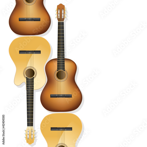 realistic acoustic guitars as background