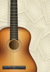 realistic acoustic guitar with musical sheets as background