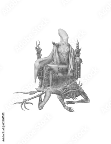 alien on a throne