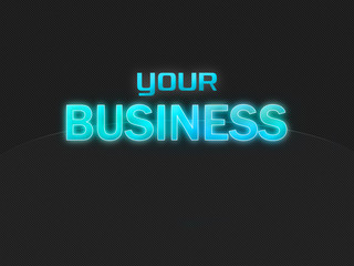 Your Business dark background, light blue text, no globe