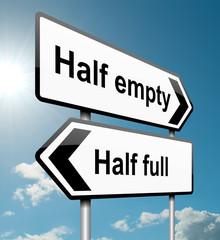 Half empty or half full.