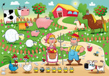 Fototapety Farm Family. Funny cartoon and vector illustration.
