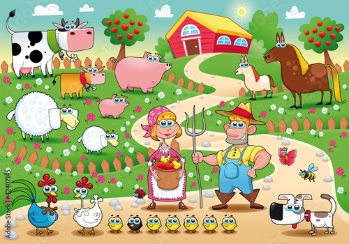 Foto op Plexiglas Boerderij Farm Family. Funny cartoon and vector illustration.