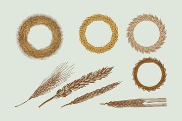 Four Harvest Wreaths Illustration