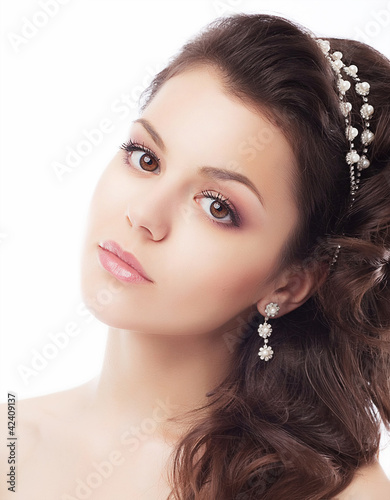 Beautiful bride face closeup - isolated on white background