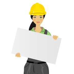 woman worker holding an white board