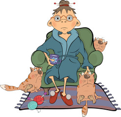 The grandmother and its cats Cartoon