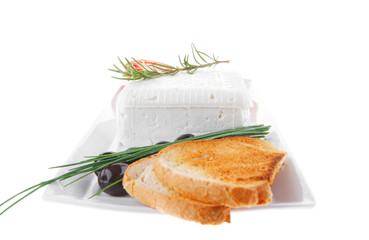 toast and vegetables with feta cube