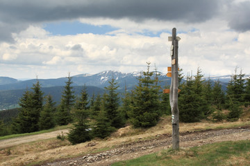 guide post in krkonose mountains