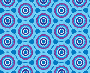Seamless blue pattern background with stylized umbrella