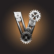 Vector metal figure  with gearwheels