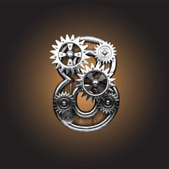 Vector metal figure  with gearwheels