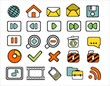 40 doodle web icons on white background
