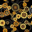 seamless vector pattern- gears on dark background