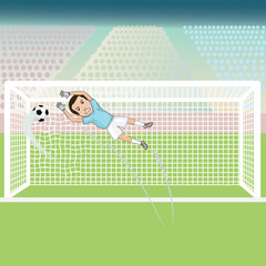 illustration of a goal keeper failed saving.