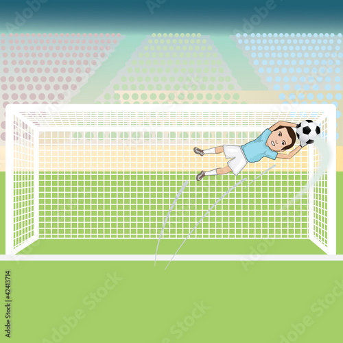 illustration of a goal keeper saving a soccer ball.