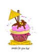 Muffin, Cupcakes mit Schirmchen und Schleife