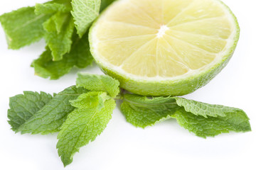 Lime and leafs of mint
