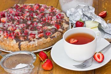 Summer strawberry cake and fresh tea