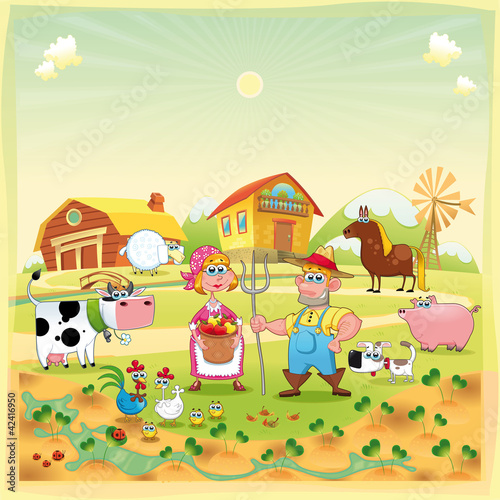 Foto op Canvas Boerderij Farm Family. Funny cartoon and vector illustration.