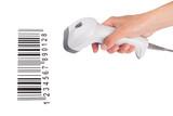 The manual scanner of bar code in a female hand