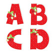 red strawberry alphabet. Letter A, B, C, D
