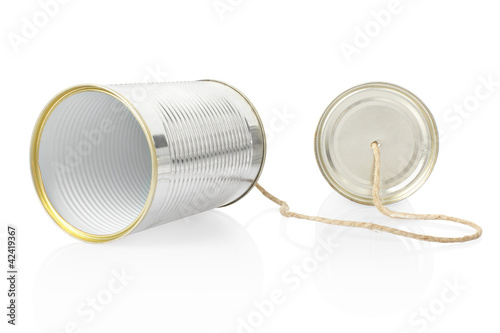 Can telephone on white, clipping path included